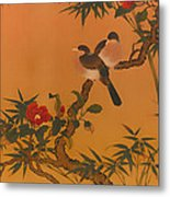 Birds Bamboo And Camellias Metal Print