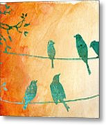 Birds Gathered On Wires-5 Metal Print