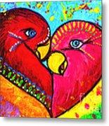 Birds In Love Pop Art Metal Print