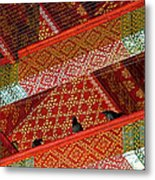 Birds In Rafters Of Royal Temple At Grand Palace Of Thailand  Metal Print