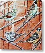 Birds In Tree Metal Print by Linda Vaughon