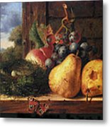 Birds Nest Butterfly And Fruit Metal Print