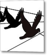 Birds On The Wire Metal Print by Laura Pierre-Louis
