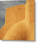 Birds Perched On A Yellow Building Metal Print