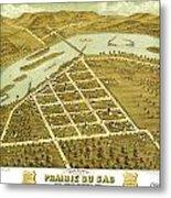Birdseye View Of Prairie Du Sac Wisconsin 1870 Metal Print