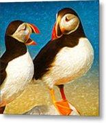 Birdy Gossip Twins Metal Print