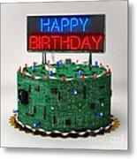 Birthday Cake For Geeks Metal Print