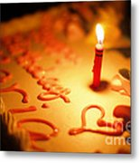 Birthday Cake With Candle Metal Print