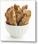 Biscotti Cookies In Bowl Metal Print