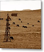 Bison And Windmill Metal Print