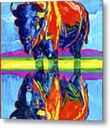 Bison Reflections Metal Print