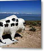 Bison Sculpture Great Salt Lake Utah Metal Print