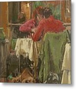 Bistro In Beziers, 2007 Pastel On Paper Metal Print