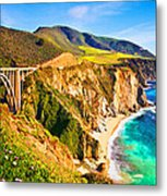 Bixby Creek Bridge Oil On Canvas Metal Print