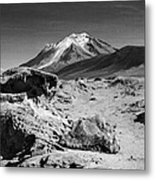 Bizarre Landscape Bolivia Black And White Metal Print