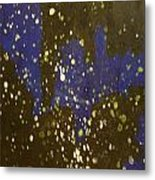 Black And Blue Splatter Metal Print