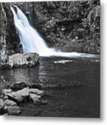 Black And Color Waterfall Metal Print