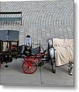 Black And Red Horse Carriage - Vienna Austria  Metal Print