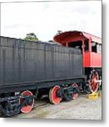 Black And Red Steam Engine Metal Print