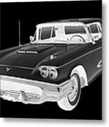 Black And White 1958  Ford Thunderbird  Car Pop Art Metal Print