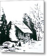 Black And White Barn In Snow Metal Print