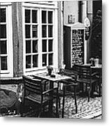 Black And White Cafe Metal Print
