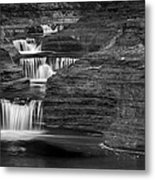 Black And White Cascade Metal Print