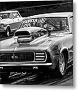 Black And White Chevy Camaro Ss Hotrod Metal Print