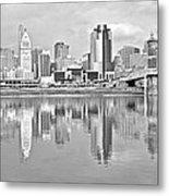 Black And White Cincinnati Panoramic Metal Print