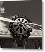 Black And White Close-up Of Airplane Engine Metal Print