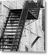 Black And White Fire Escape Usa Near Infrared Metal Print
