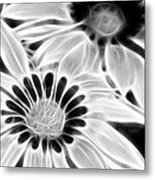 Black And White Florals Metal Print