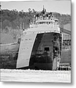 Black And White Freighter Metal Print