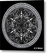 Black And White Gothic Celtic Mermaids Metal Print