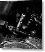Black And White Harley Davidson Engine Parts Metal Print