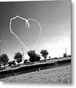 Black And White Heart Metal Print
