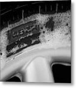 Black And White Mini-cooper Soapy Wheel Metal Print