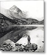 Black And White Mountain Landscape  Metal Print