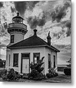 Black And White Mukilteo Lighthouse Metal Print