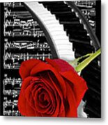 Black And White Music Collage Metal Print