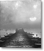 Black And White Mystery- From The Moon To The Mist Metal Print