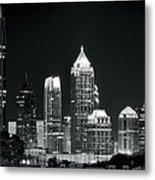Black And White Night In Atlanta Metal Print