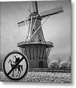 Black And White No Tilting At Windmills Metal Print