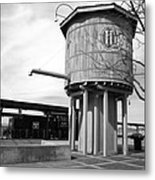 Black And White Of A Water Tower Metal Print