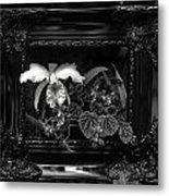 Black And White Orchid Flowers Growing Through Old Wooden Pictur Metal Print