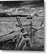 Black And White Photo Of A Wood Fence At The John Moulton Farm Metal Print