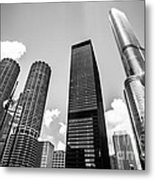 Black And White Photo Of Chicago Skyscrapers Metal Print