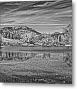 Black And White Photo Of Long Pond Acadia National Park Maine Metal Print