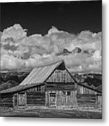 Black And White Photo Of The T.a. Moulton Barn In The Grand Tetons Metal Print