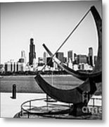 Black And White Picture Of Adler Planetarium Sundial Metal Print by Paul Velgos